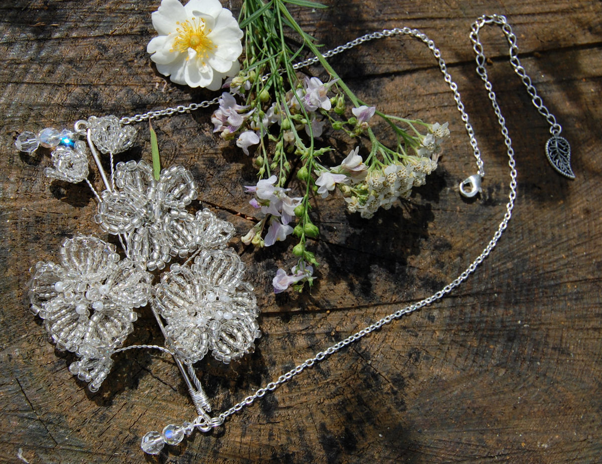 Snow White necklace French beaded flower pendant fairytale wedding