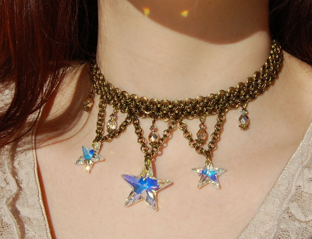 Crystal star and chainmail necklace witch jewelry with swarovski crystal star and chainmail necklace witch jewelry with swarovski star pendants bronze chainmaille choker aloadofball Image collections