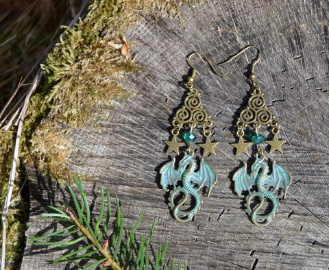 Bronze,dragon,earrings,with,Celtic,Triskelion,spirals,and,starts,-,witch,medieval,fantasy,jewelry,LARP,elf,mage,cosplay,Jewelry,Earrings,dragon_jewelry,celtic_jewelry,dragon_earrings,elf_jewelry,medieval_goth,fantasy_earrings,pagan_earrings,green_dragon_earrings,witchy_earrings,celtic_earrings,cosplay_jewelry,witchy_jewelry,witchy_fashion,elf_mage,cosplay_elf_jewelr