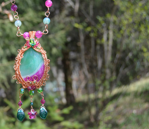 Fuchsia,pink,fairy,necklace,-,and,green,crystal,wire,wrap,pendant,with,leaves,garden,fuschia,jewelry,fairytale,princess,Jewelry,Necklace,fuchsia_pendant,pink_fairy_necklace,pink_crystal_pendant,pink_fairy_pendant,wire_wrap_pendant,fairytale_pendant,princess_jewelry,wire_wrapped_necklace,pink_and_green_necklace,fuchsia_necklace,pink_fairy_jewelry,pink_fairy_