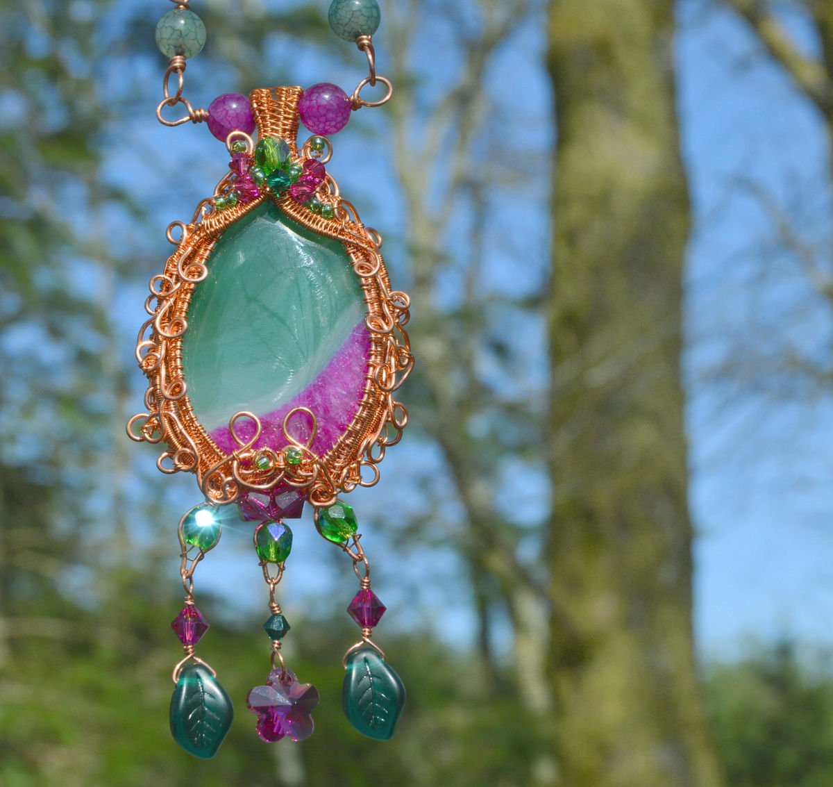 Fuchsia pink fairy necklace - pink and green crystal wire wrap ...