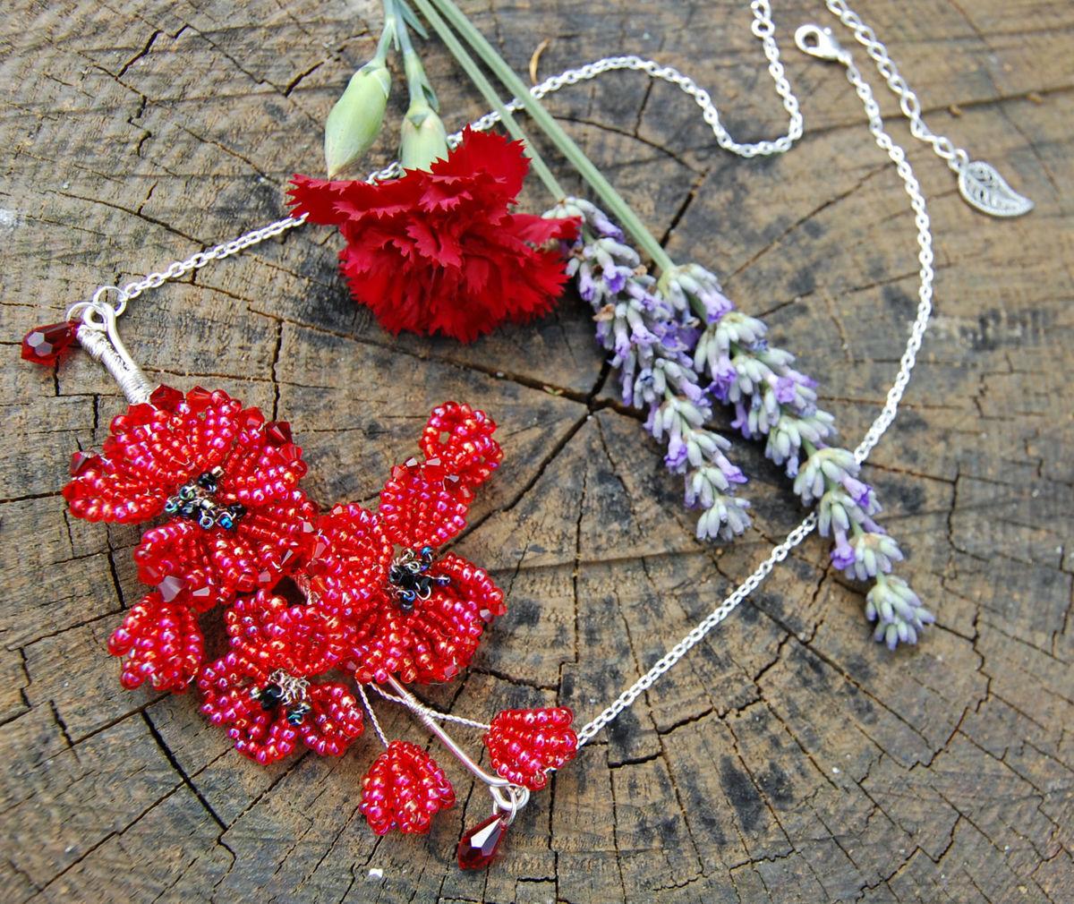 Sale red poppy necklace french beaded flower pendant with crystal sale red poppy necklace french beaded flower pendant with crystal petals victorian pre raphaelite fairytale jewelry mightylinksfo