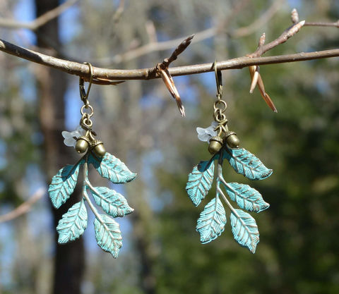 Woodland,fairy,earrings,with,green,leaves,and,white,flowers,-,wood,elf,mori,girl,jewelry,forest,witch,leaf,Jewelry,Earrings,woodland_fairy_earrings,fairy_earrings,leaf_jewelry,leaf_earrings,boho_earrings,mori_girl,green_witch,green_leaf_dangle_earrings,leaf_dangle_earrings,boho_woodland_jewelry,fairy_jewelry,woodland_earrings,woodland_jewelry,elf_earrings,gree