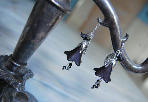 Gothic,black,flower,earrings,-,Victorian,fairy,jewelry,dark,mori,kei,strega,fashion,boho,with,Swarovski,crystals,Jewelry,Earrings,gothic_earrings,black_flower_earrings,witch_earrings,flower_earrings,gothic_fairy_jewelry,witch_jewelry,vampire_earrings,boho_flower_earrings,gothic_black_flower_earrings,dark)mori_jewelry,strega_jewelry,forest_goth,black_crystal_dangle_e