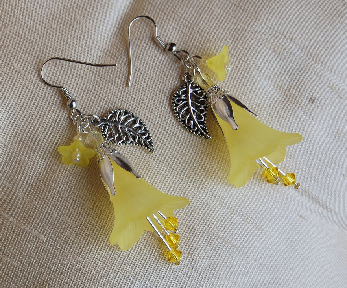 Yellow Flower Earrings With Swarovski Crystals Spring Daffodils