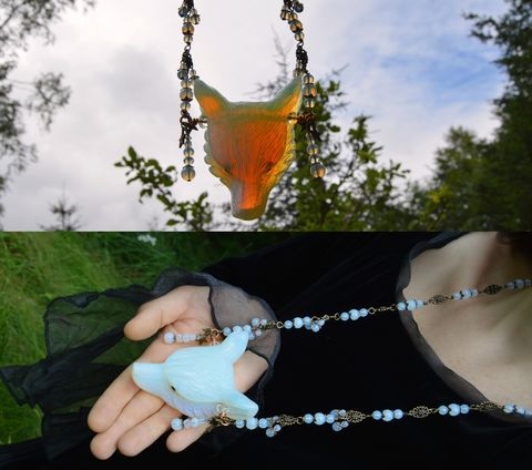 Big,Opalite,wolf,pendant,on,beaded,chain,-,wicca,jewelry,pastel,goth,witch,amulet,opalite,wicca_jewelry,wicca_pendant,wolf_pendant,wolf_necklace,opalite_necklace,opalite_wolf,opalite_jewelry,opalite_pendant,witch_jewelry,pastel_goth_pendant,witchy_jewelry,witch_pendant_witchy_pendant,strega_fashion,dark_mori_fashion