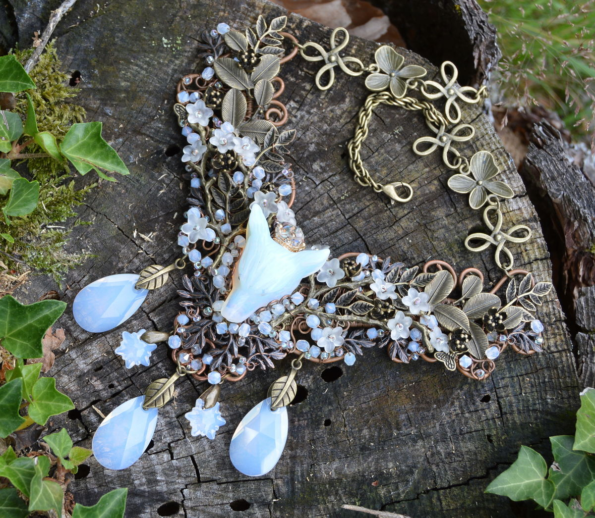 Wire wrapped opalite wolf necklace with cherry blossom flowers and wire wrapped opalite wolf necklace with cherry blossom flowers and white opal swarovski crystal pendants wiccan jewelry fantasy wedding aloadofball Choice Image