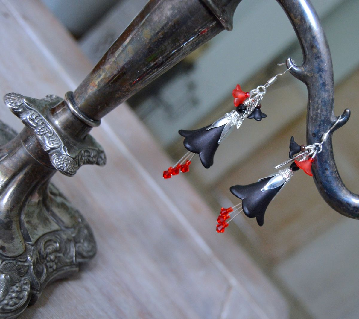Crystal Black Flower Dangle Earrings  3//4 Inches