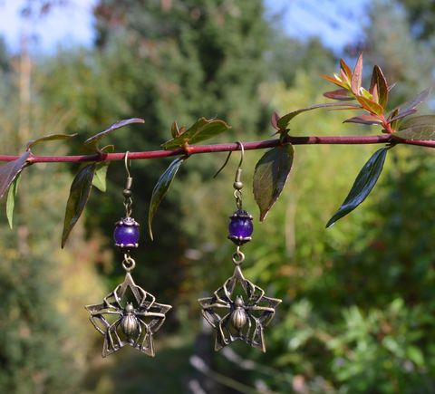 Gothic,spider,earrings,-,Halloween,jewelry,dark,mori,witchy,purple,beaded,spiderbite,spider_earrings,gothic_jewelry,halloween_jewelry,halloween_earrings,goth_earrings,goth_jewelry,spiderweb_earrings,gothic_spider_earrings,witch_earrings,witch_jewelry,purple_gothic_earrings,witchy_jewelry,witchy_earrings,strega_earrings,dark_mori_earrings