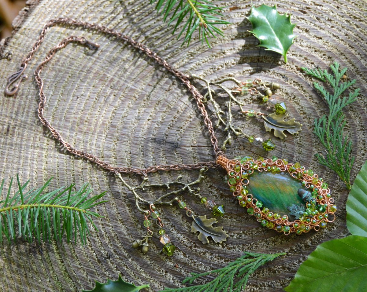Elven Oak Leaf Necklace - Wire Wrapped Pendant in Copper and