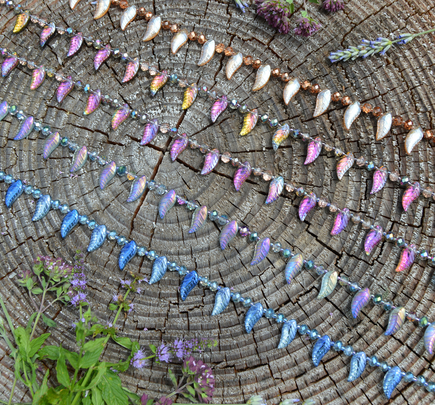 Rainbow fairy necklaces - iridescent fishscales mermaid choker - pastel goth style