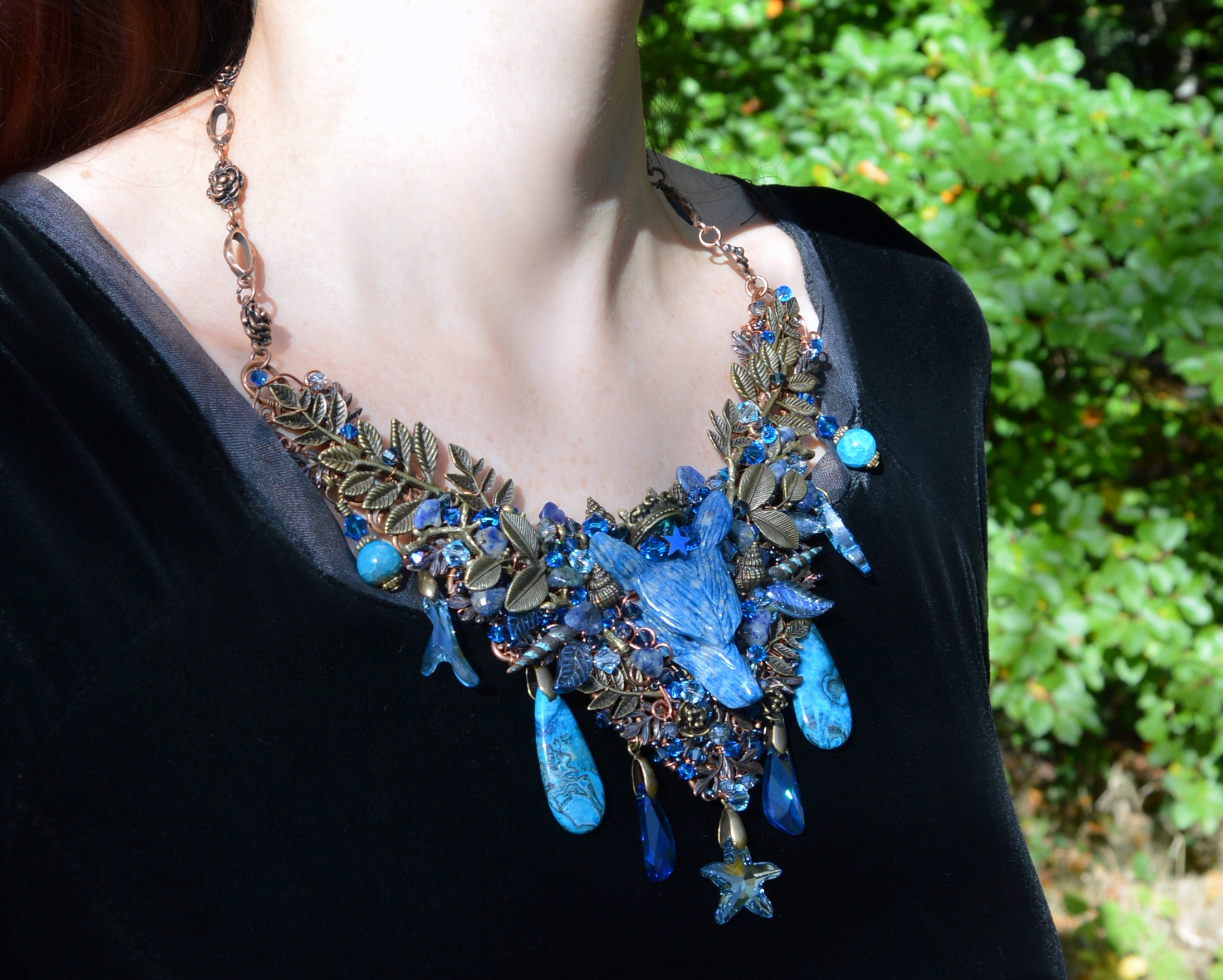 Poseidon necklace with lapis blue wolf and Swarovski crystals