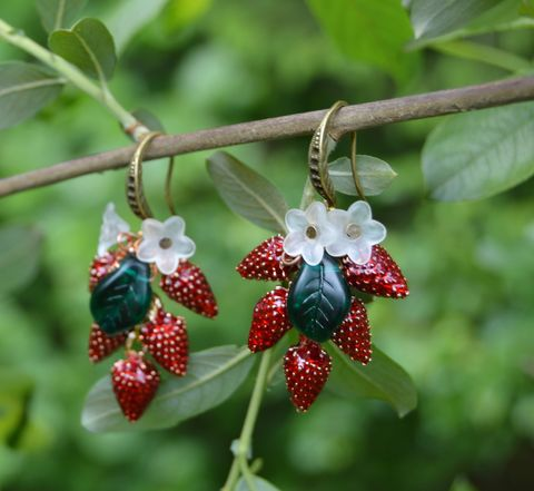 Wild,strawberry,earrings,-,garden,witch,jewelry,fruits,of,the,forest,flower,fairy,summer,strawberries,strawberry_earrings,wild_strawberry_earrings,strawberry_jewelry,garden_jewelry,fruit_earrings,forest_fairy_jewelry,forest_fruit_jewelry,wild_strawberries,garden_witch_earrings, garden_witch,mori_girl_earrings,flower_fairy_earrings,woodland_fruit_earrings