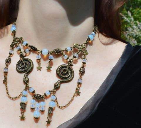 Opalite,snake,necklace,with,stars,and,moths,-,pastel,gothic,witchy,chain,bib,strega,fashion,snake_necklace,snake_bib_necklace,snake_jewelry,gothic_snake_necklace,opalite_necklace,opalite_witch_necklace,witch_jewelry,witchy_necklace,serpent_necklace,medusa_necklace,,witchy_snake_necklace,witchy_jewellery,dark_mori_jewelry,st