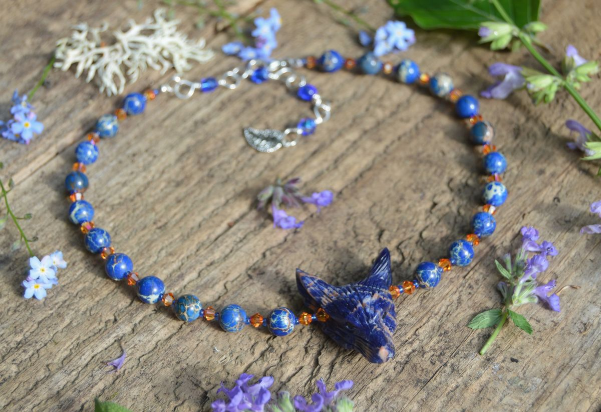 Blue Wolf Necklace Sodalite Semi Precious Stone Choker