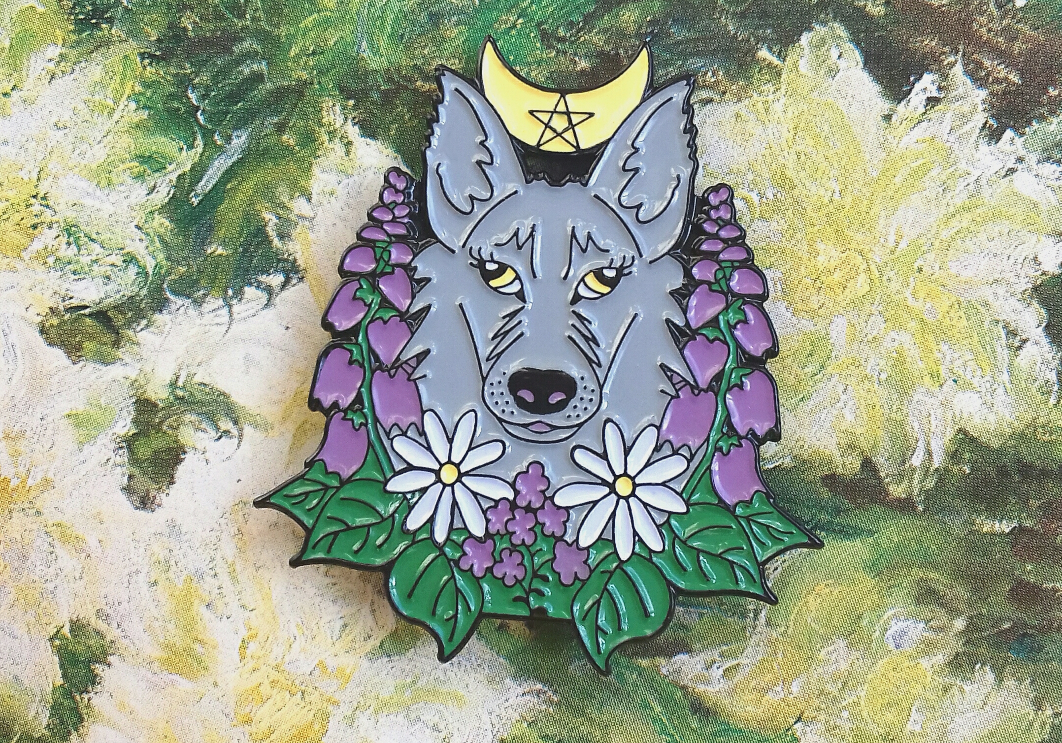Wolf enamel pin - wiccan pins with cute wolf and moon - floral lapel pin - pastel witch jewelry by Herisson Rose