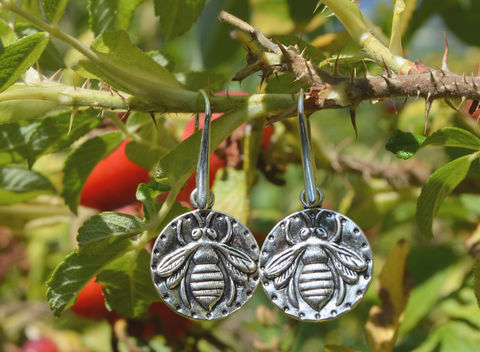 Simple,round,silver,bee,earrings,w,rustic,folk,art,style,honeybee,motif,-,summer,forest,green,witch,wicca,elven,bee_earrings,bee_jewelry,silver_bee_earrings,dainty_bee_jewelry,mori_girl_earrings,hippie_coin_earrings,witchy_earrings,witchy_style_jewelry,hippie_witch_jewelry,nature_goth_jewelry,garden_lover_jewelry,beekeeper_gift