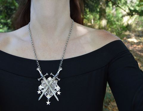 Gothic,Sword,Necklace,-,Crossed,Swords,and,Shield,Coat,of,Arms,Pendant,Medieval,goth,Elven,Knight,sword_necklace,sword+pendant,medieval_necklace,medieval_jewelry,LARP_necklace,knight_jewelry,crossed_swords_necklace,witchy_pendant,coat_of_arms_necklace,medieval_sword_necklace,gothic_sword_necklace,strega_fashion,long_sword_necklace,long_sword_pendant,l