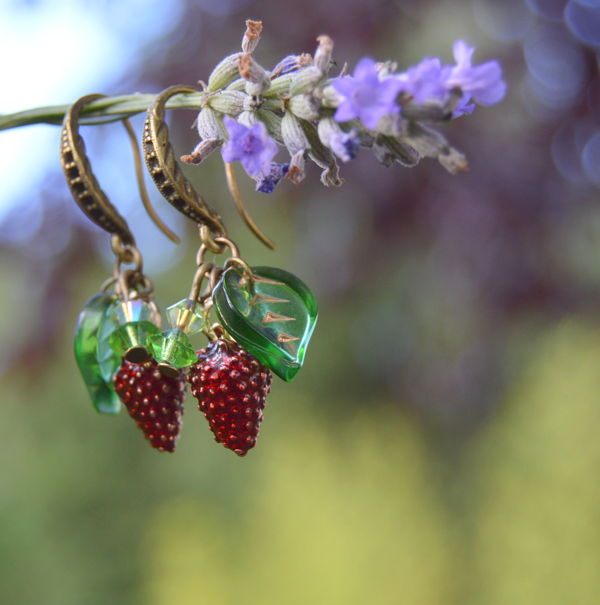 Strawberry earrings with Swarovski crystals forest fruit sweet witch wicca jewelry by Herisson Rose