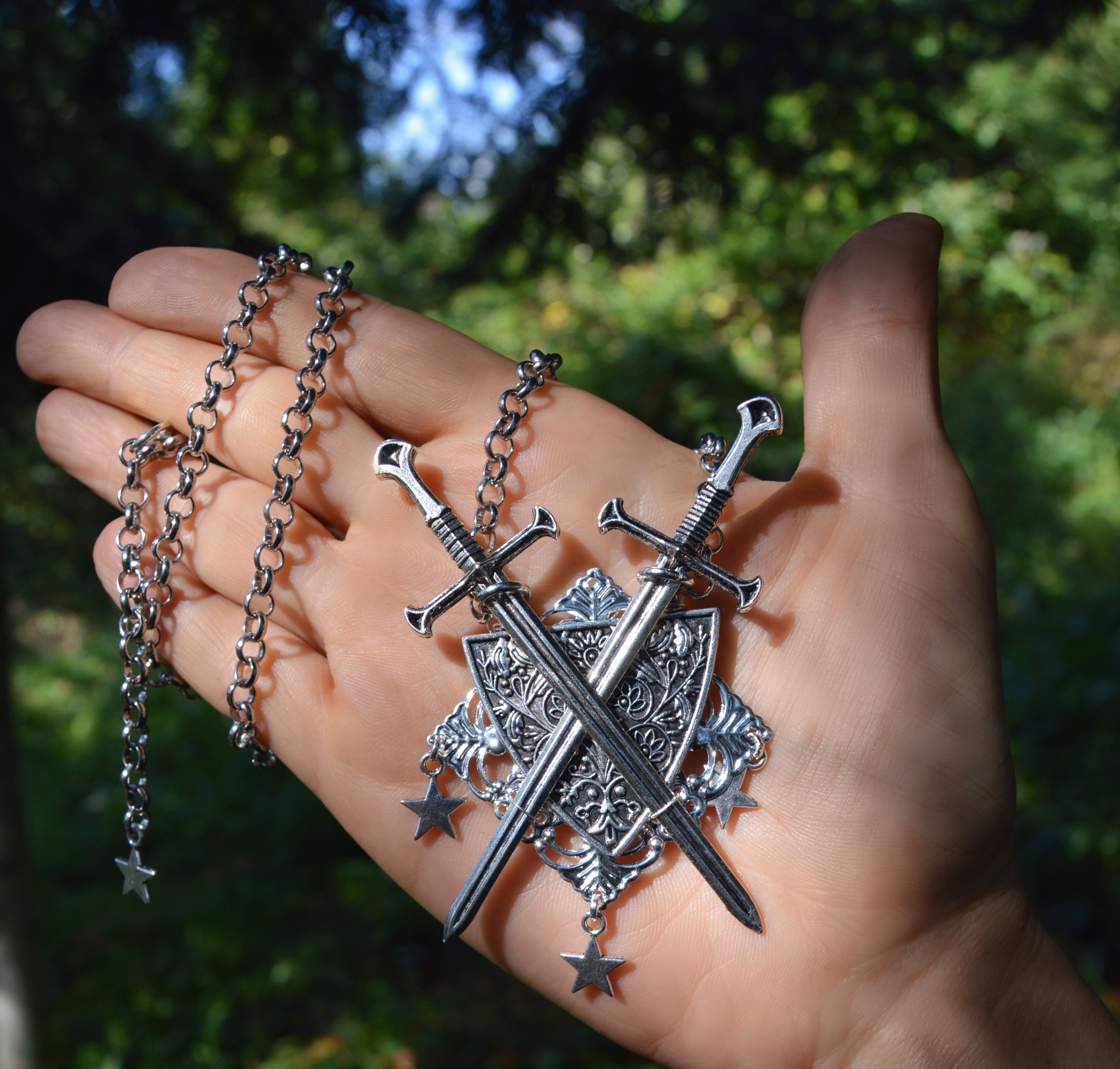 Gothic sword necklace strega fashion medieval jewelry knight coat of arms pendant by Herisson Rose