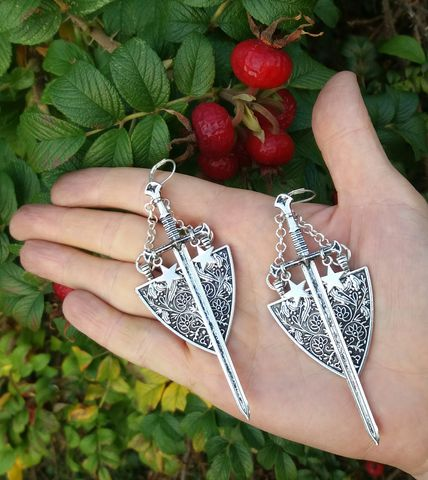 Sword,and,Shield,earrings,-,medieval,knight,coat,of,arms,tarot,jewelry,witchy,fashion,sword_earrings,sword_jewelry,gothic_sword_earrings,tarot_jewelry,tarot_earrings,witchy_earrings,witchy_sword_earrinngs,athame_earrings,medieval_earrings,medieval_knight_jewelry,coat_of_arms_jewelry,coat_of_arms_earrings,lady_knight,gothic_occult_earrings