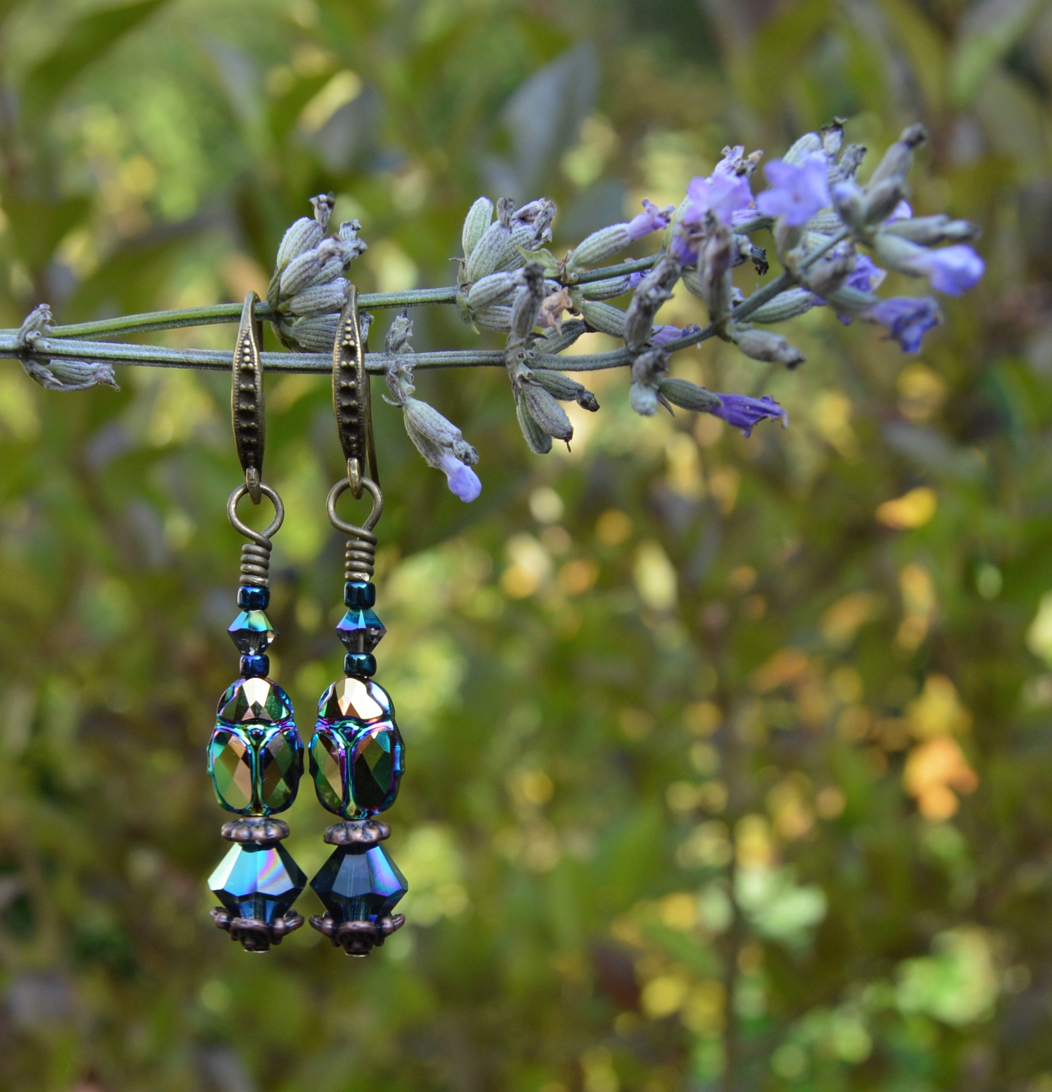 Scarab beetle earrings Swarovski crystal gothic witch jewelry by Herisson Rose