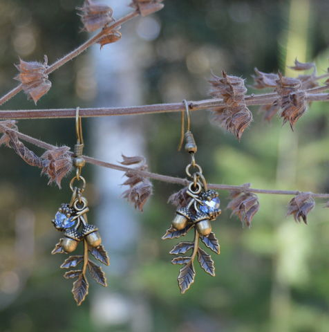 Leaf,earrings,with,acorns,-,woodland,elf,forest,witch,jewelry,in,bronze,and,ice,blue,leaf_earrings,leaf_dangle_earrings,elf_earrings,forest_witch_earrings,fairy_leaf_earrings,forest_earrings,acorn_earrings,wiccan_jewelry,green_witch_jewelry,dangle_leaf_earrings,forest_fairy_jewelry,bronze_leafy_earrings