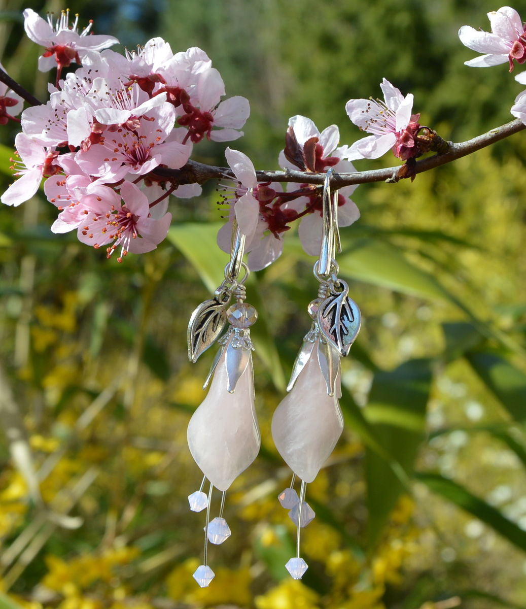 1d33bca2c Pink Lily Earrings in Rose Quartz with Swarovski Crystals - Sweet Witch -  Pastel Fairy
