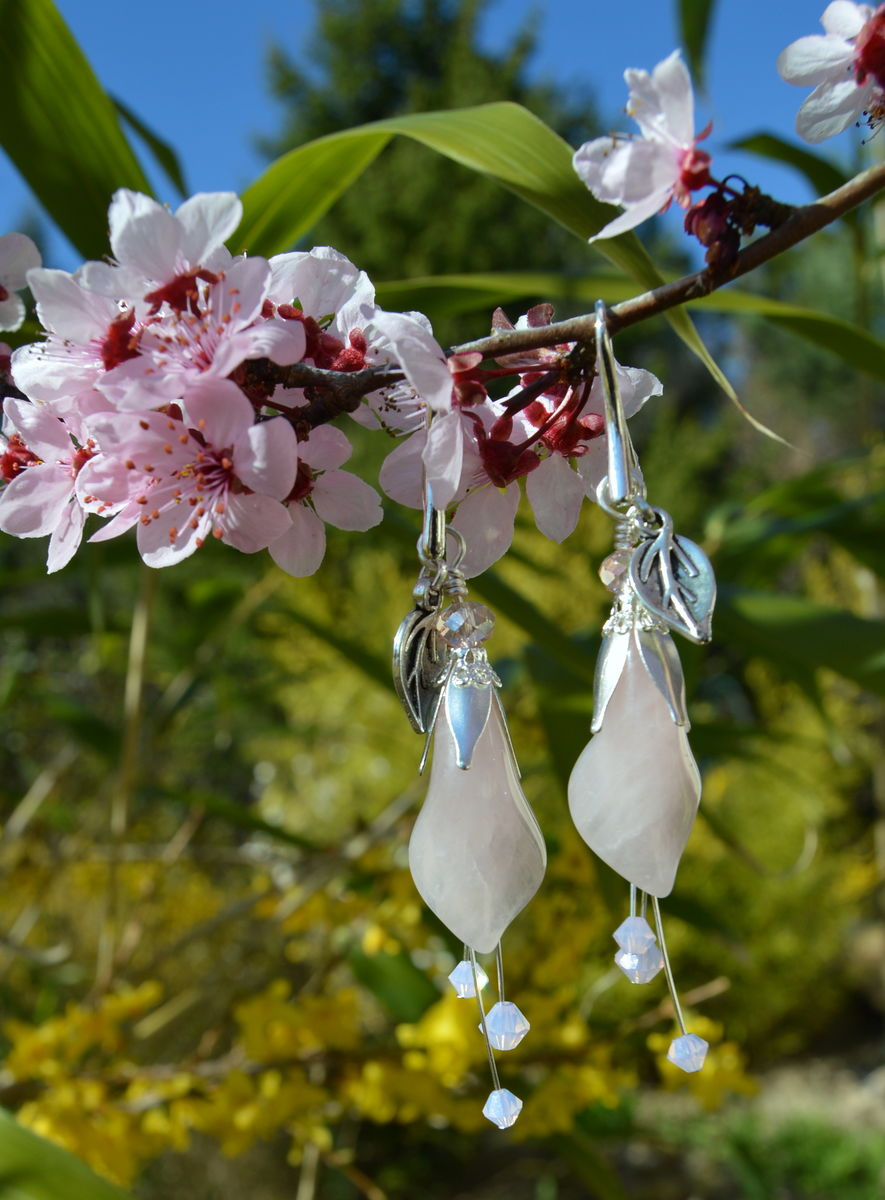 e8300baca ... Pink Lily Earrings in Rose Quartz with Swarovski Crystals - Sweet Witch  - Pastel Fairy ...