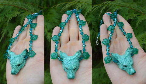 Green,Wolf,Necklace,in,Mint,Chrysocolla,Stone,and,Swarovski,Crystals,-,Herb,Witch,Jewelry