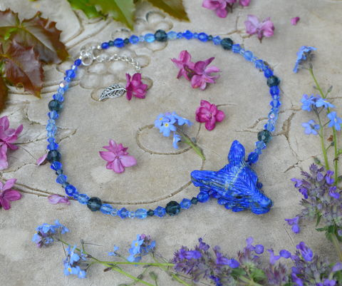 Lapis,Lazuli,wolf,necklace,on,a,Swarovski,crystal,choker,-,blue,gradient,sea,witch,mermaid,jewelry,blue_crystal_necklace,blue_swarovski_crystal_necklace,lapis_wolf_necklace,lapis_lazuli_crystal_necklace,sea_witch_jewelry,blue_crystal_choker,mermaid_crystal_choker,blue_crystal_mermaid_necklace,crystal_witchy_necklace,blue_crystal_witch_necklace,pastel_g