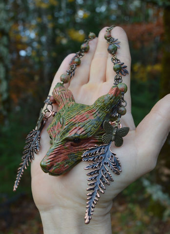 Unakite,Wolf,Necklace,-,Large,Natural,Stone,Pendant,with,Copper,Leaves,Green,Witch,Cernunnos,Jewelry,wolf_necklace,unakite_necklace,green_witch_jewelry,unakite_pendant,fern_leaf_pendant,forest_witch_necklace,forest_goth,green_wolf_necklace,big_stone_pendant,cernunnos_jewelry