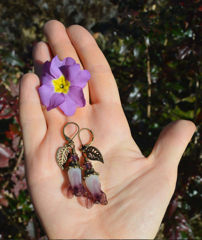 Purple,Bluebell,Earrings,-,Victorian,Flower,Fairy,Jewelry,Glass,Lampwork,Beads,on,Leverback,Hooks,bluebell_earrings,boucles_d'oreilles_clochesbleus,bluebell_fairy_earrings,bleubell_jewellery,purple_bluebell_earrings,purple_flower_fair_jewelr,lampwork_flower_earrings,bronze_and_purple_flower_earrings,mori_girl_earrings,steampunk_fair_earrings