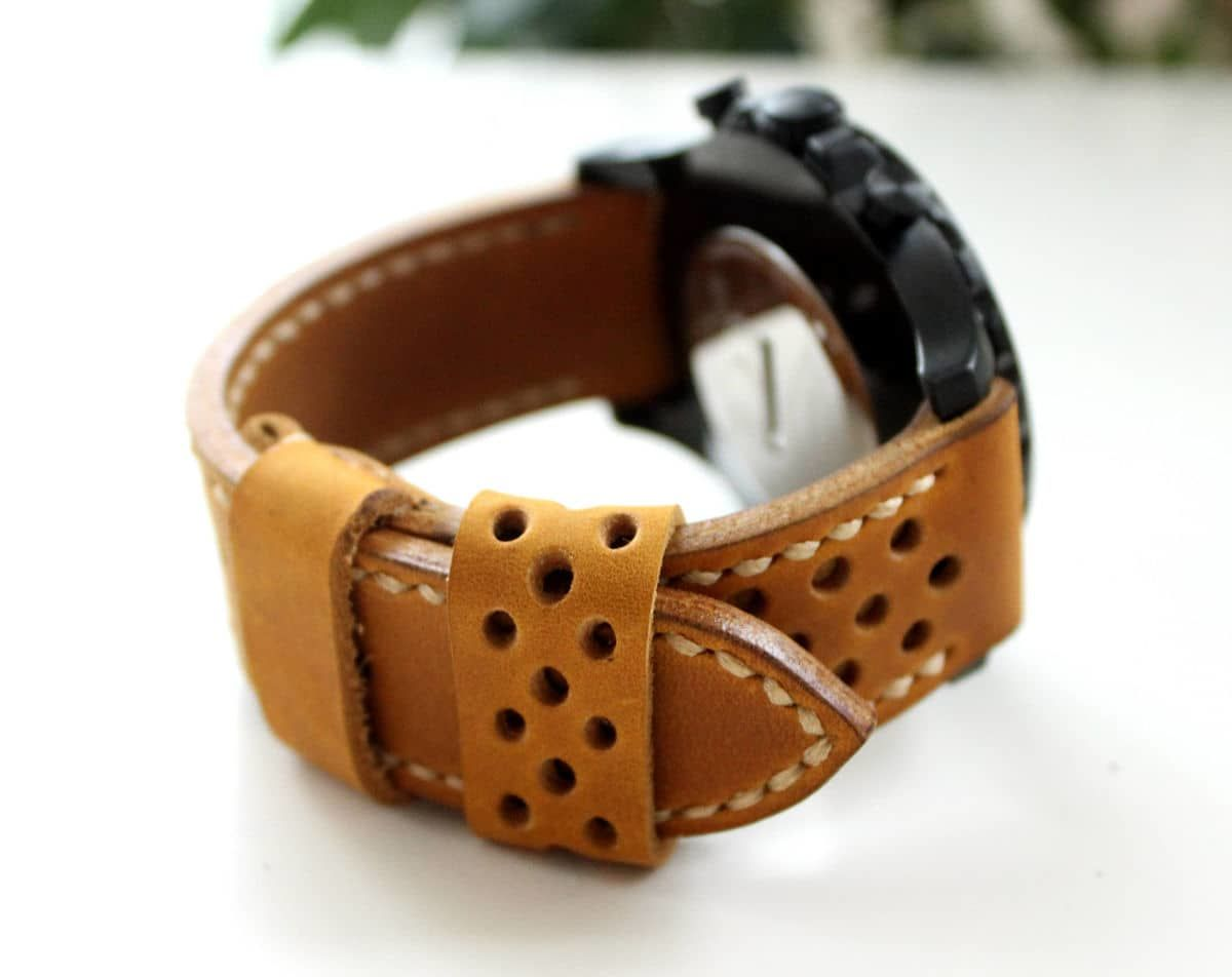 Handmade leather watch band perforated yellow