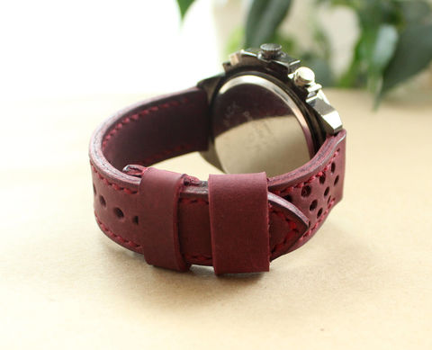 Leather,watch,strap,Purple,perforated,handmade watch strap perforated, watch strap perforated, watch strap, leather watch band perforated