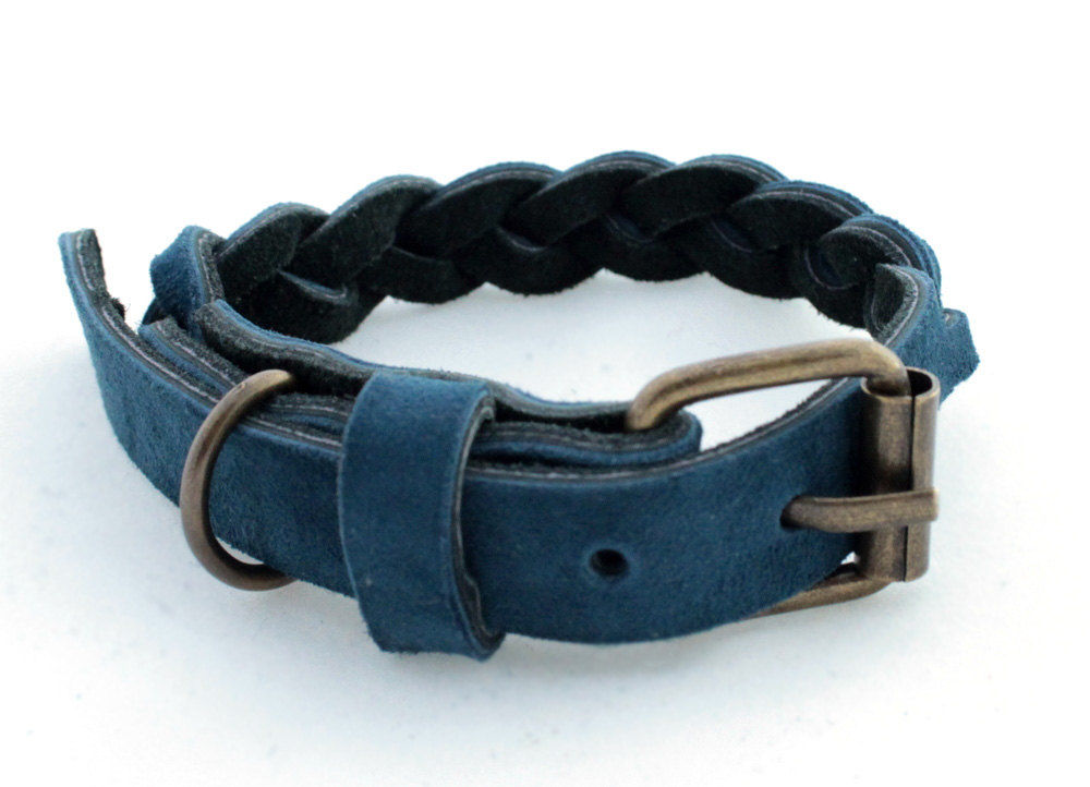 Handmade blue leather collar - product images  of