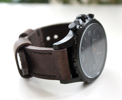 Genuine,leather,watch,strap,Dark,Brown,handmade mens leather watch strap, mens leather watch strap, leather watch strap, watch strap, watch strap brown, genuine leather watch strap dark brown
