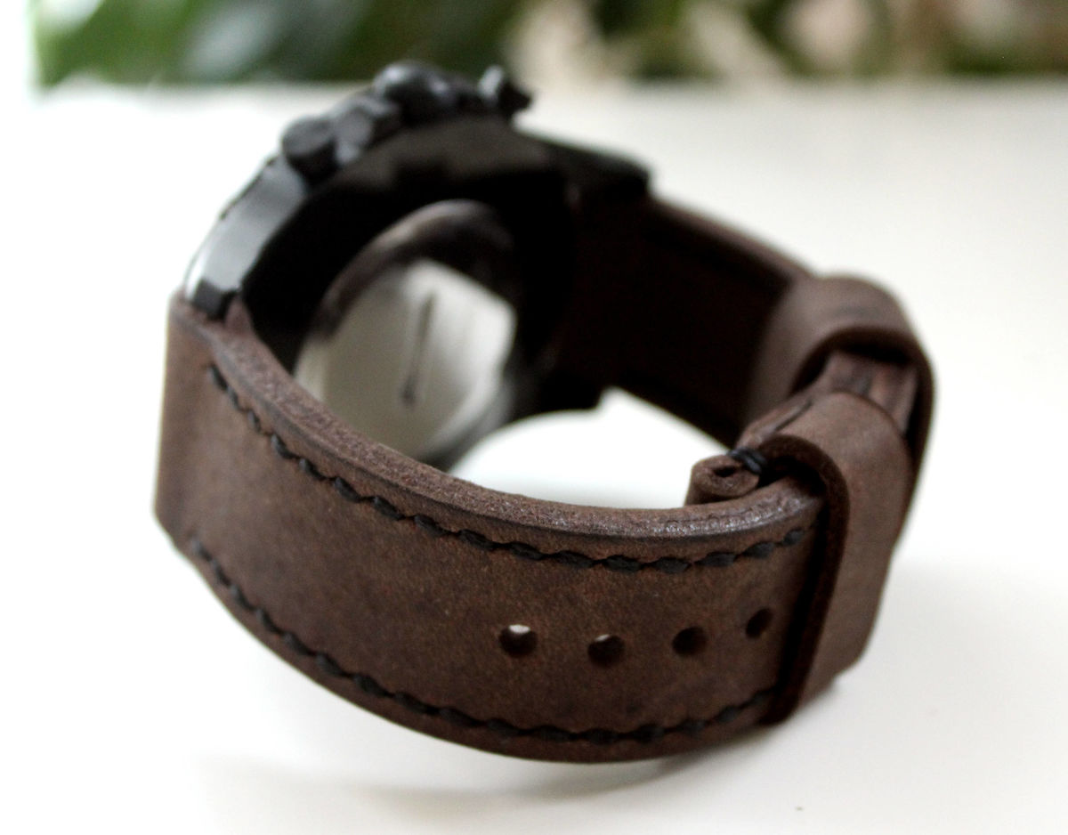 Genuine leather watch strap Dark Brown - product images  of