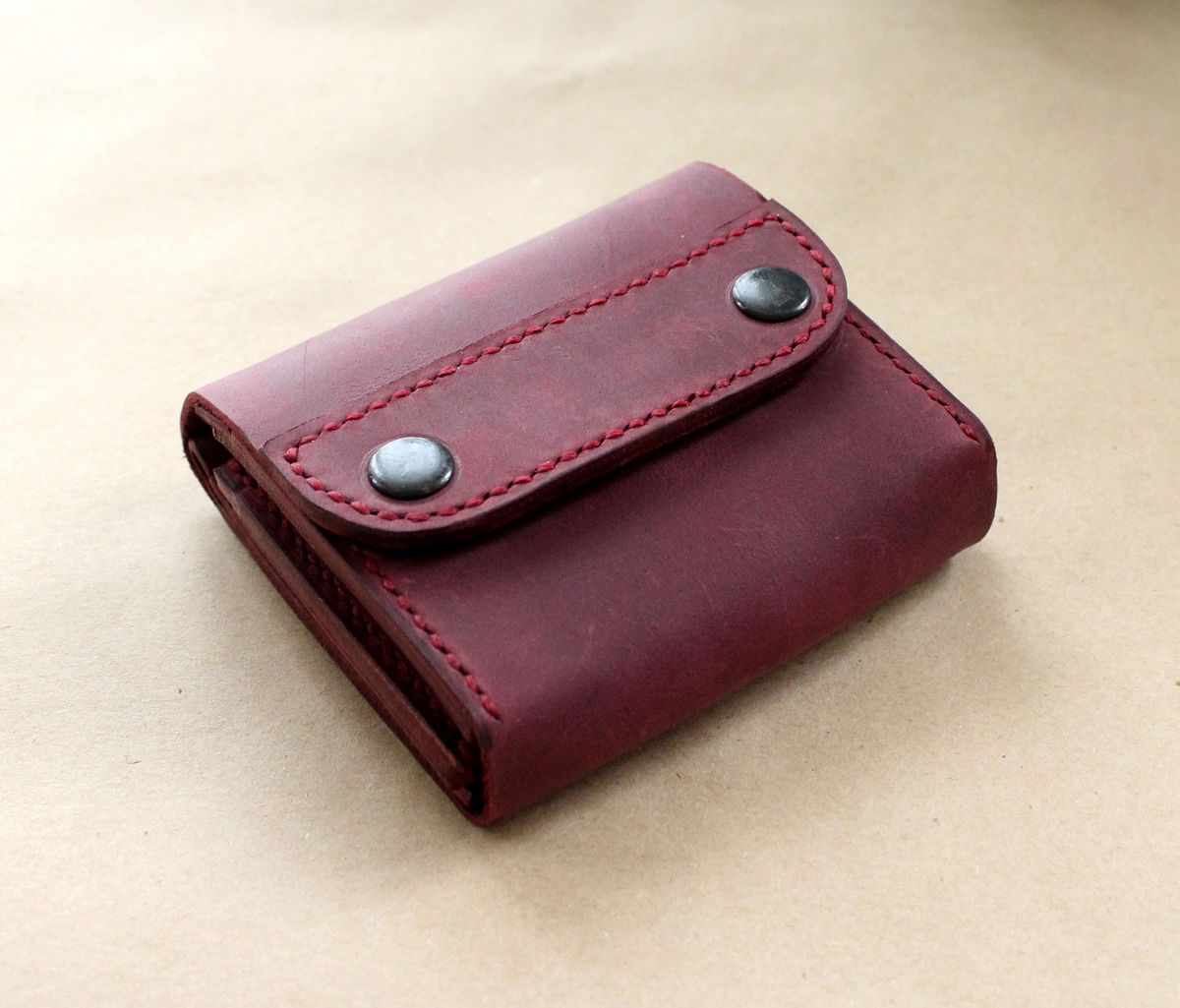 Small leather wallet purple - product images  of