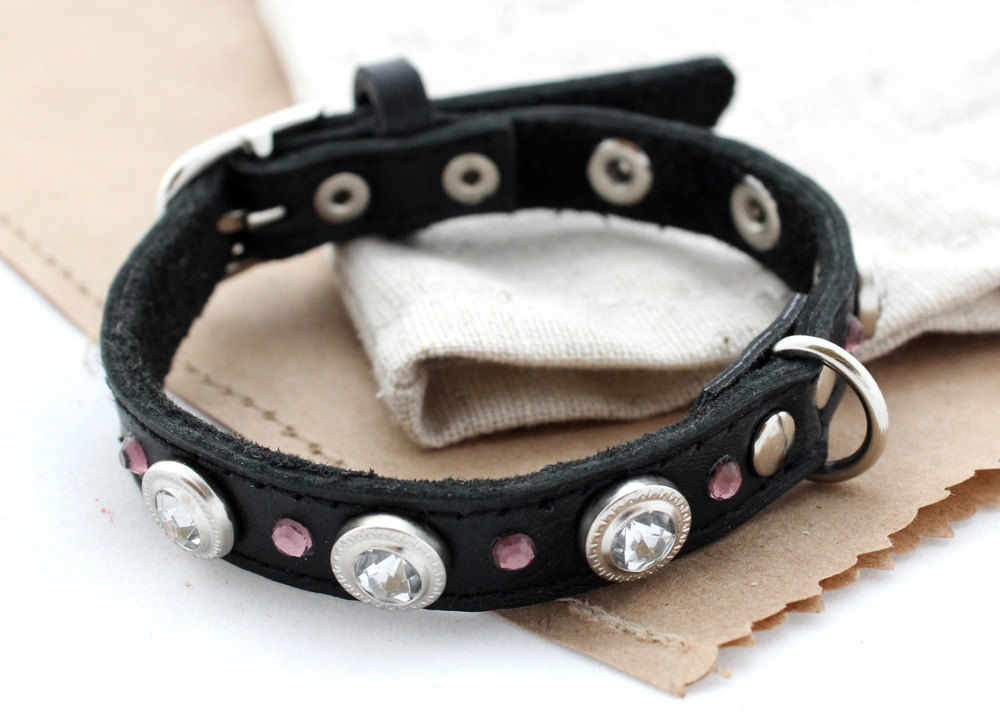 Handmade designer leather dog collars - product images  of