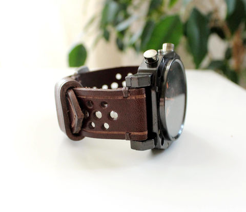 Leather,watch,band,perforated,Wine,handmade leather strap band, leather strap band, leather strap, leather watch band perforated wine