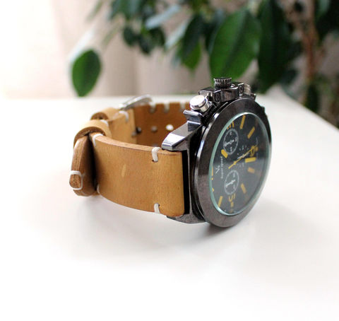 Yellow,leather,watch,strap,handmade light tan leather watch strap, light tan watch strap is made, tan watch strap, watch strap