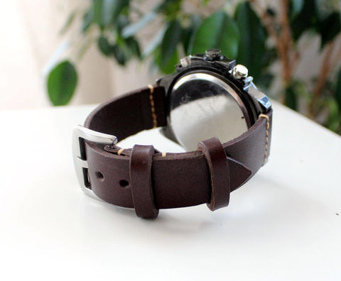 Mens,leather,watch,band,20,mm,Dark,Brown,handmade brown high quality leather watch strap, brown high quality leather watch strap, leather watch strap, brown mens leather watch bands 20 mm