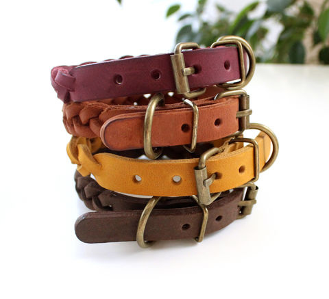 Handmade,leather,dog,braid,collar,XS,handmade leather dog braided collars, leather dog braided collars, dog braided collars