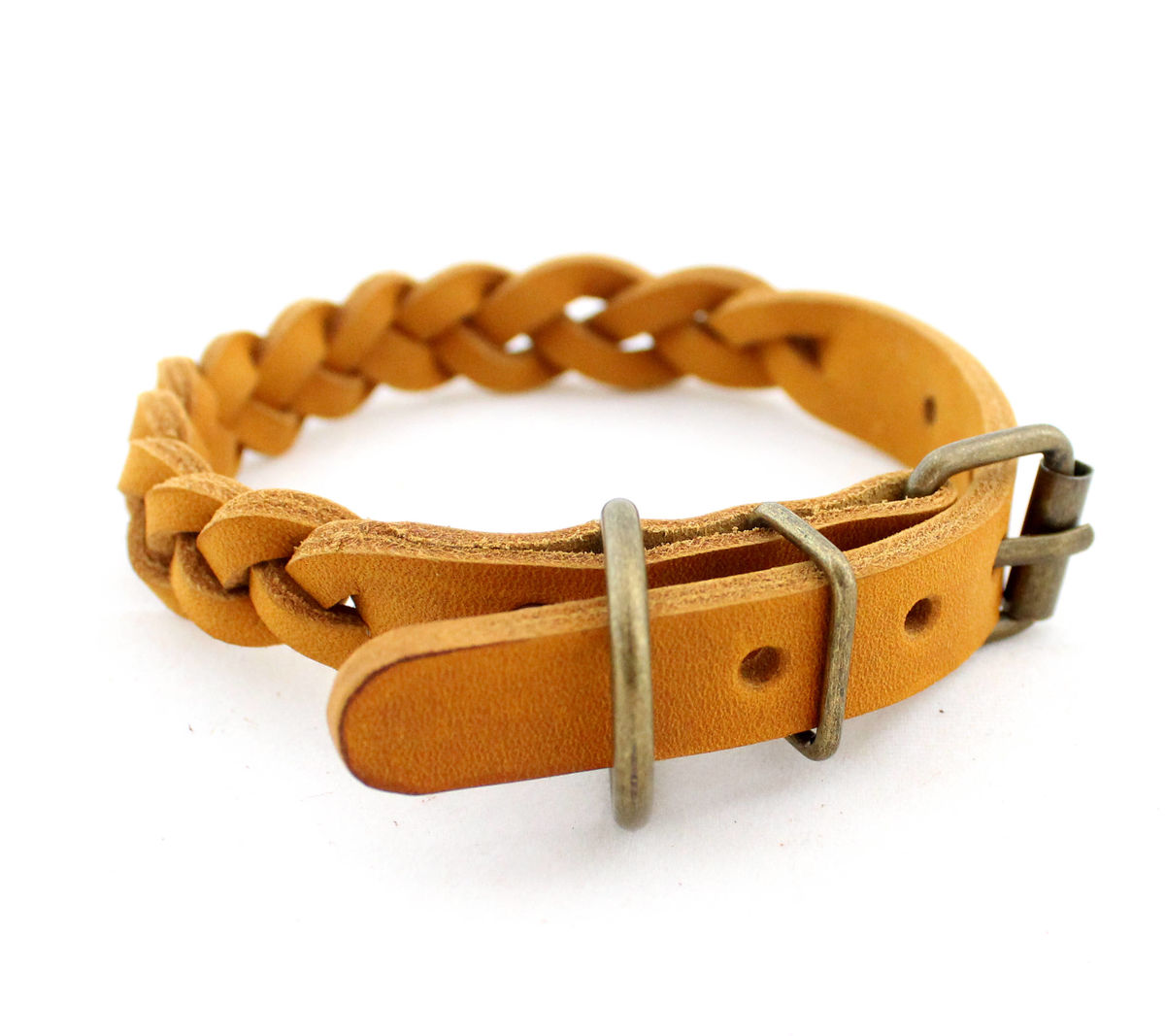 Handmade leather dog braid collar XS - product images  of