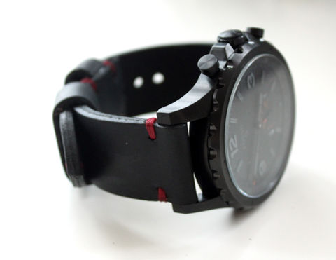 Leather,watch,band,Black,and,Red,black and red leather watch strap, leather watch strap, handmade black and red leather watch strap, Leather watch band black and red