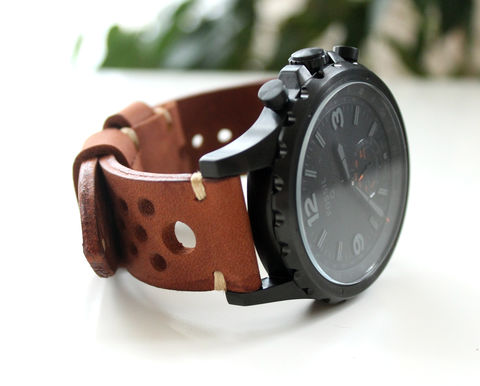 Leather,watch,band,rally,Brown,tan leather watch strap, watch strap, perforated leather watch strap, handmade perforated tan leather watch strap, perforated tan leather watch strap, leather watch band perforated, leather watch band rally brown