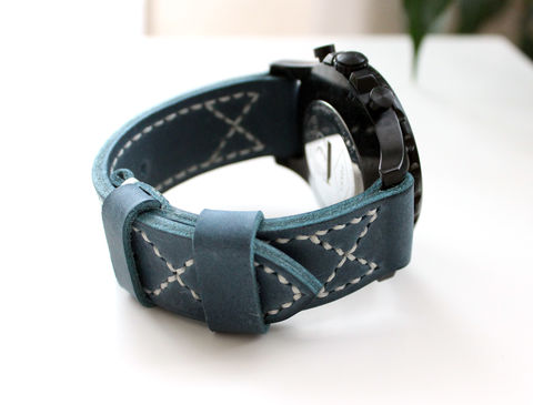 Leather,watch,band,Blue,handmade real leather watch strap, real leather watch strap, leather watch strap, watch strap, leather watch band blue