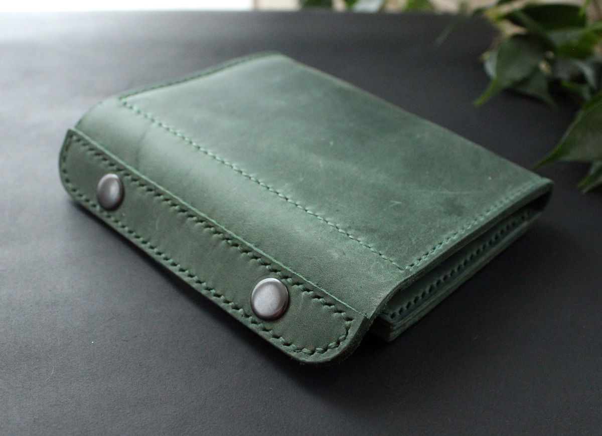 Leather passport wallet holder green - product images  of