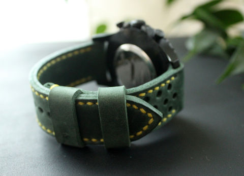 Leather,watch,strap,Green,perforated,handmade leather wrist watch bands perforated, eather wrist watch bands perforated, watch bands perforated, leather watch band perforated